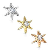 CZ Center Star Steel Dermal Anchor Top