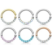 Half Circle CZ Lined Bendable Hoop