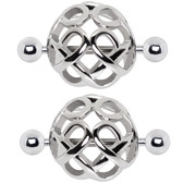 PAIR - Large Cage Steel Nipple Ring Barbells