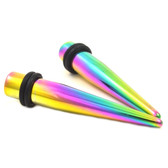 Rainbow Titanium Plated Straight Ear Tapers (14g-00g)