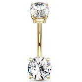 Goldtone Double CZ Int. Threaded Belly Ring