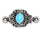 Blue Enamel Ornate Cartilage Piercing Cuff 16G