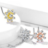 Clear CZ Snowflake L Shaped Nose Ring 20G