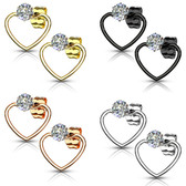 Clear CZ Heart Shaped Steel Stud Earrings