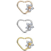 CZ Flower Heart Cartilage Daith Earring (Left Ear)