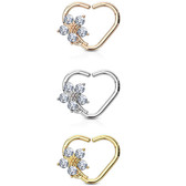 CZ Flower Heart Cartilage Daith Earring (Right Ear)