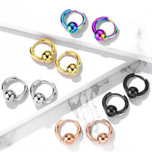 Captive Ball Steel Hinge Hoop Earrings