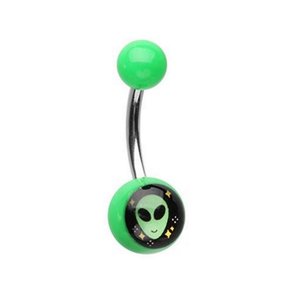 Alien Logo Acrylic Steel Belly Ring