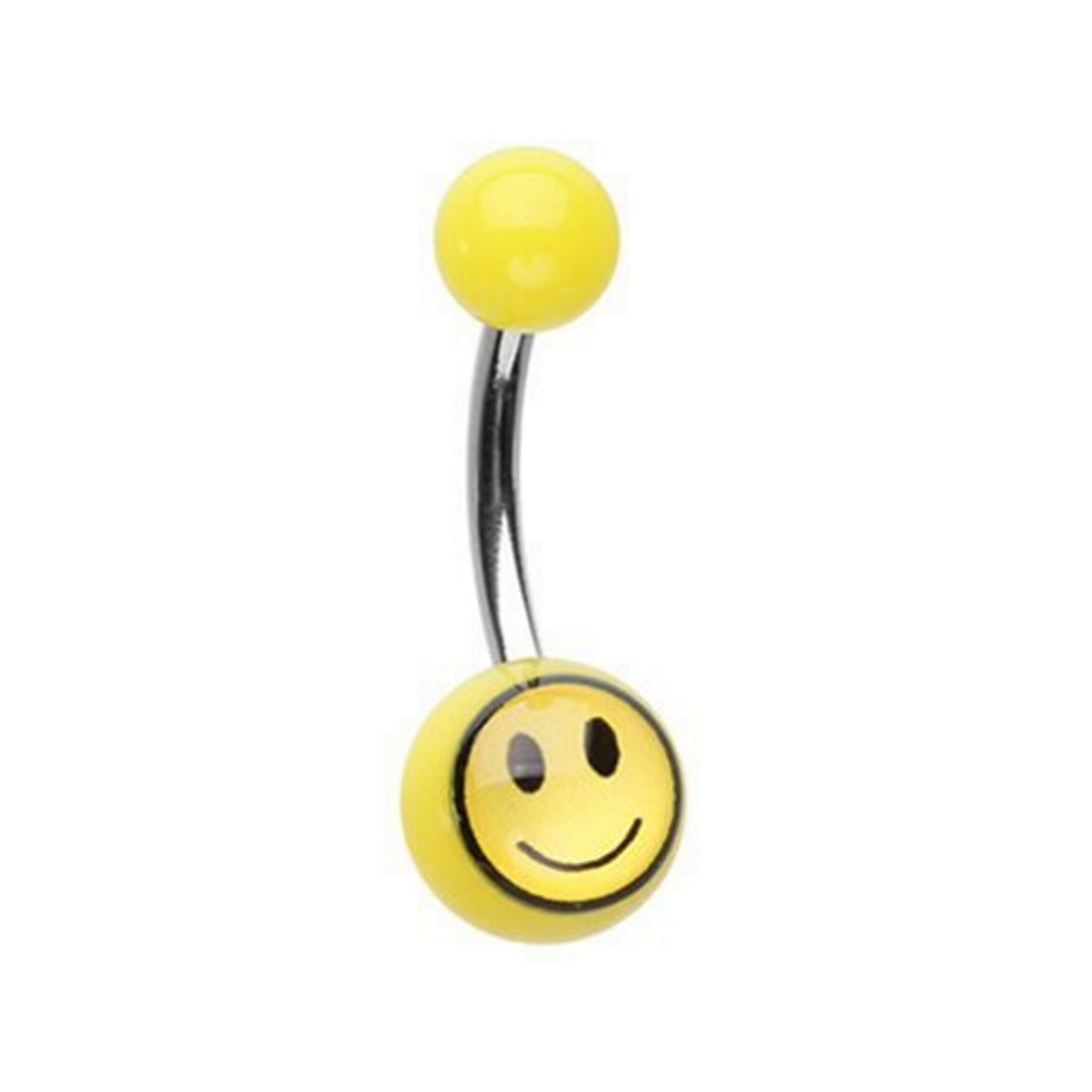 Smiley Face Acrylic Steel Belly Ring