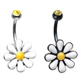 Spring Daisy Flower Steel Belly Ring