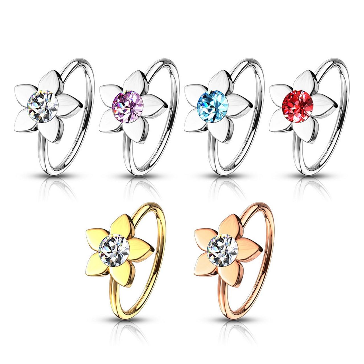 Jeweled Flower Steel Nose Ring Hoop Bodydazz Com