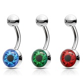 Eyeball Design Steel Belly Ring