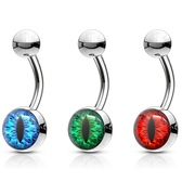 Snake Eye Design Steel Belly Ring