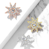 CZ Octagram 8 Point Star Steel Dermal Anchor Top