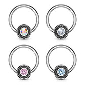 Crystal Accent Filigree Steel CBR Hoop 16G