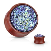"Blue Faux Druzy Stone Wood Plugs (2g-5/8"")"