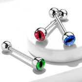 Snake Eye Design Steel Tongue Ring Barbell