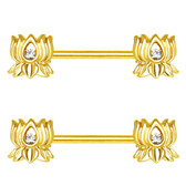 PAIR - Lotus Flower Goldtone Nipple Ring Barbells