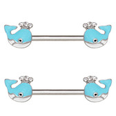 PAIR - Light Blue Whale Steel Nipple Ring Barbells