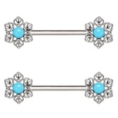 PAIR - Light Blue Flower Steel Nipple Ring Barbells
