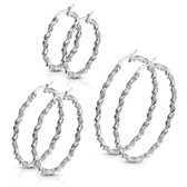 Braided Twist Stainless Steel Hoop Earrings 30mm-50mm