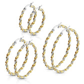 Braided Twist Two-Tone Steel Hoop Earrings