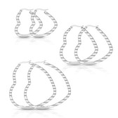 Wavy Heart Stainless Steel Hoop Earrings 30mm-50mm