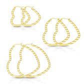 Wavy Heart Goldtone Steel Hoop Earrings 30mm-50mm