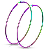 Rainbow Anodized Steel Hoop Earrings 20mm-75mm