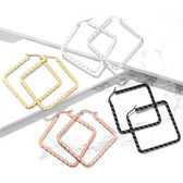 4-Pairs Wavy Square Steel Hoop Earrings