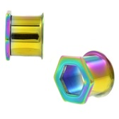 Hexagon Front Rainbow PVD Steel Double Flared Tunnels