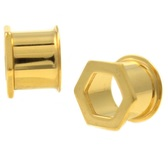 Hexagon Front Goldtone PVD Double Flared Tunnels