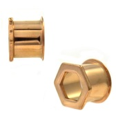 Hexagon Rose Goldtone PVD Double Flared Tunnels