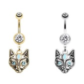 Royal Cat Dangle Steel Belly Ring