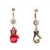 2-Pack Set Boxing Glove Dangle Steel Belly Rings