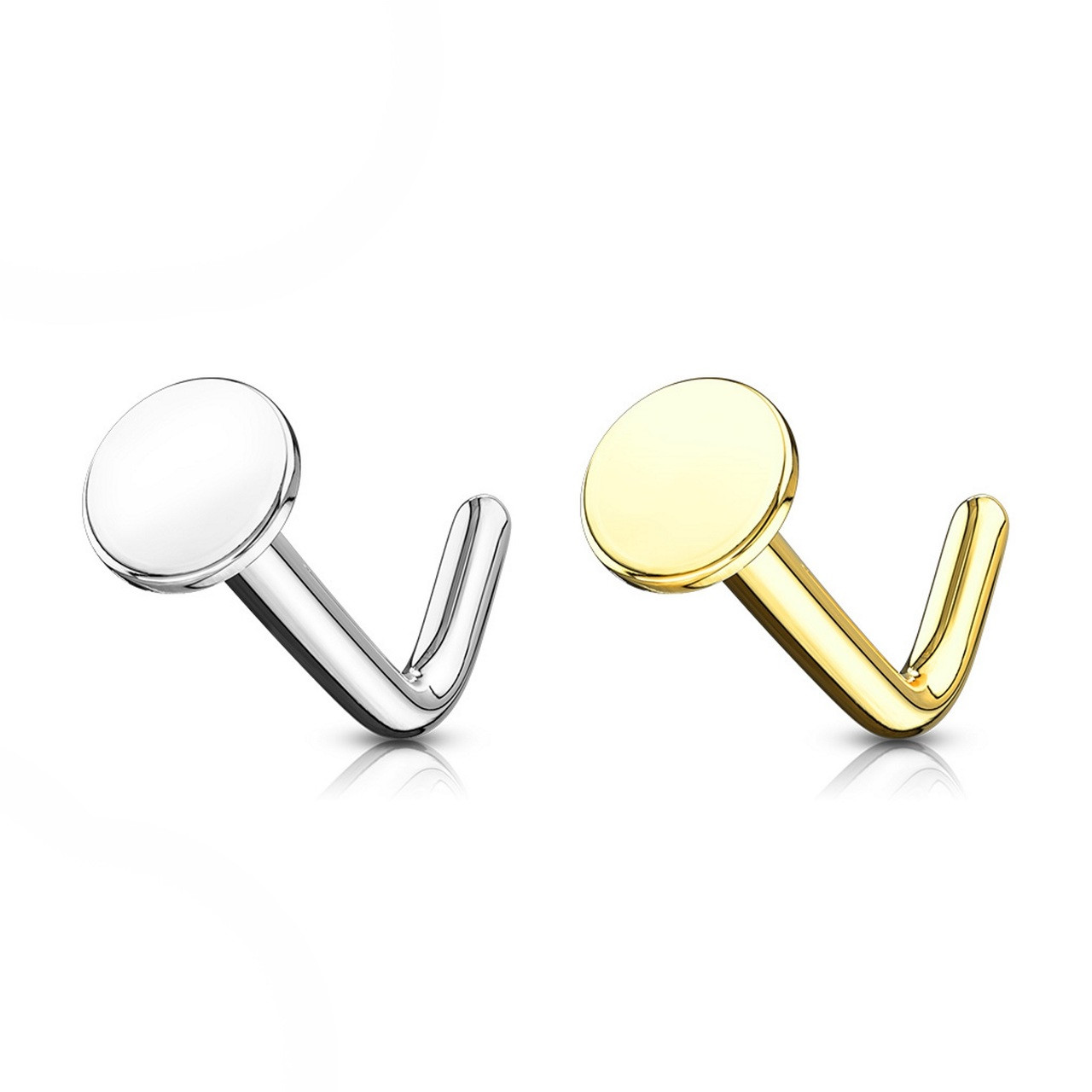14kt Flat Top L Shaped Nose Ring 20g 1 4 Bodydazz Com