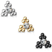 Triangle Ball Cluster CZ Steel Dermal Anchor Top