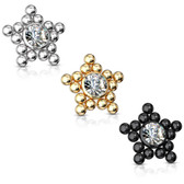 Star Shaped Ball Cluster Steel Dermal Anchor Top