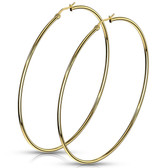 Gold-Tone IP Steel Hoop Earrings 20mm-75mm