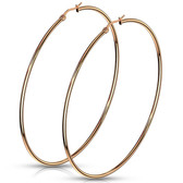 Rose Gold-Tone IP Steel Hoop Earrings 20mm-75mm