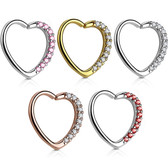 Heart w/CZ Gems Cartilage Daith Earring (Left Ear)