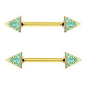 PAIR - Teal Triangle Steel Nipple Ring Barbells