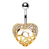 Two-Tone Ornate Heart Steel Belly Ring