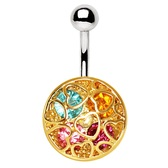 Heart Cut Rainbow Shield Steel Belly Ring
