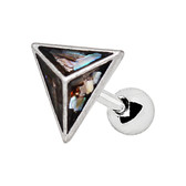 Abalone Pyramid Steel Cartilage Tragus Stud 16G