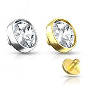 5mm CZ Dome 14kt Gold Dermal Anchor Top