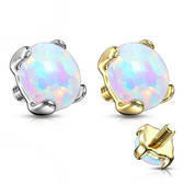 White Synthetic Opal 14kt Gold Dermal Anchor Top