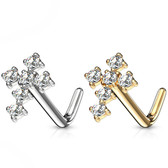 Engagement & Wedding Fashion Jewelry Useful 14k White Gold Ip Clear Cz Red Centre Flower L Shape Bent Nose Piercing Stud