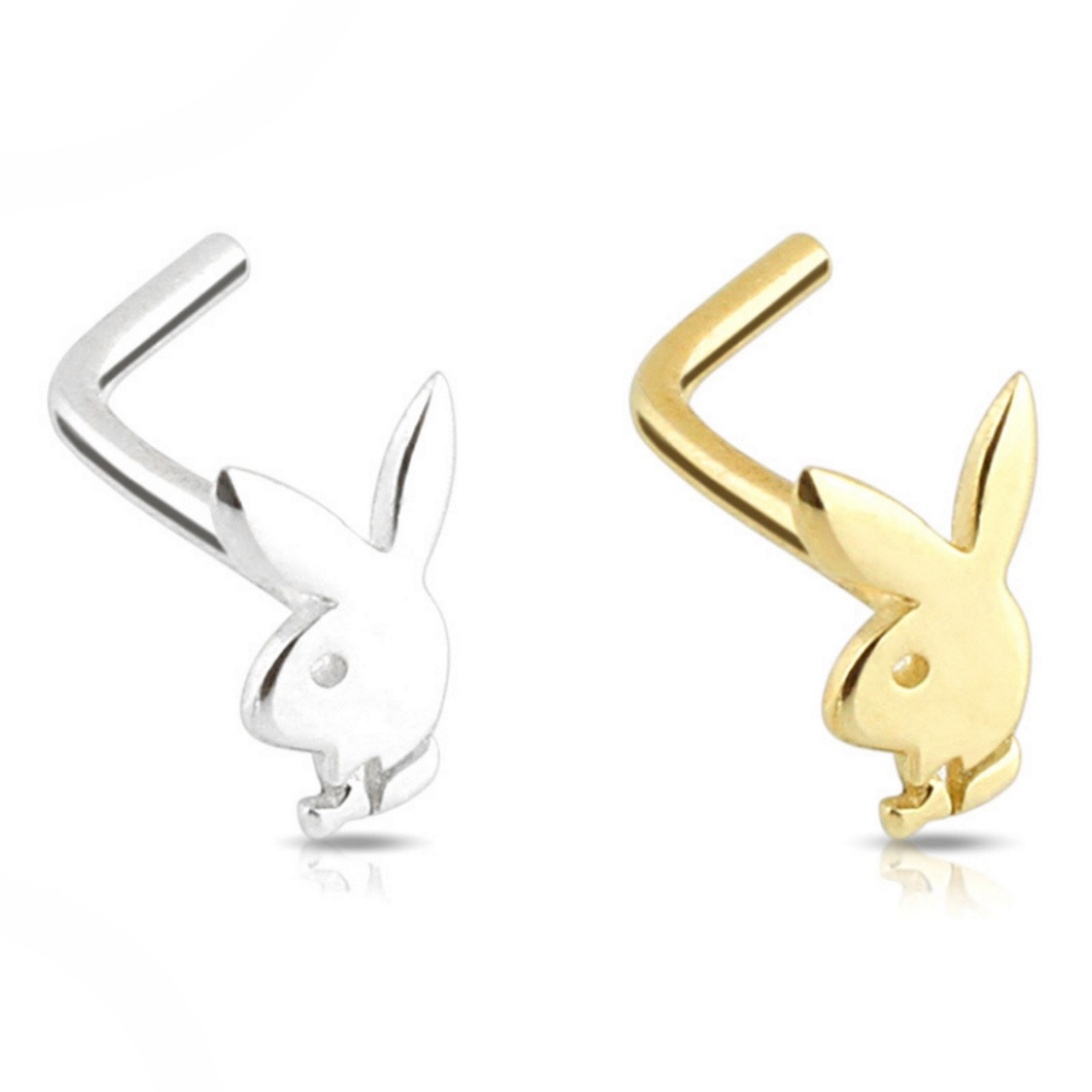 14kt Gold Playboy Bunny L Shaped Nose Ring 20g 1 4 Bodydazz Com