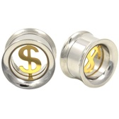 "Gold and Steel Money Sign Screw Fit Tunnels (0g-5/8"")"